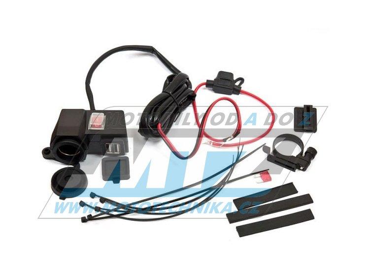 Zásuvka 12V/24V + USB 5V/2.1 (s vypínačem a držákem)