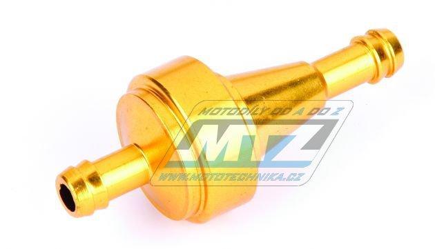 """Filtr palivový/benzínový - průměr 5/16"""" (8mm) - hliníkové tělo - barva zlatý"""