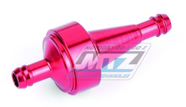 """Filtr palivový/benzínový - průměr 5/16"""" (8mm) - hliníkové tělo - barva červený"""