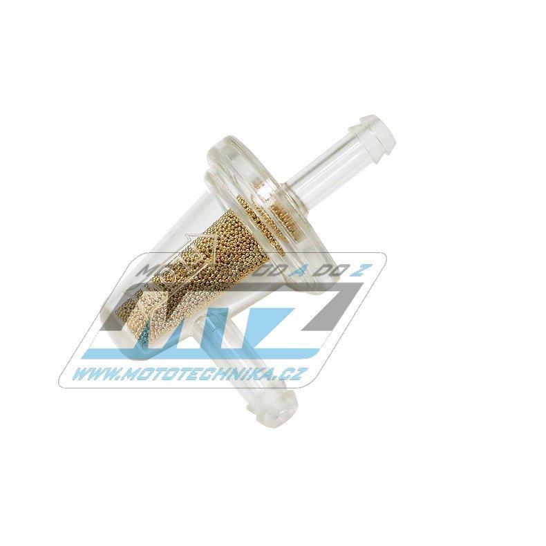 """Filtr palivový/benzínový 90° s mikrofiltrem - průměr 1/4"""" (6mm) - plastový"""
