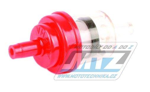 """Filtr palivový/benzínový - průměr 1/4"""" (6mm) - plastový - červený"""