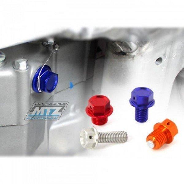 Magnetická výpustná skrutka M12x15mm (závit 1,5) - červená (Honda CR80 + CR85 + CR125 + CR250 + Yamaha YZ125 + YZ250 + YZF250 + YZF450 + WRF250 + WRF450 + WR250R + XT250 + ďalšie) ZETA RACING