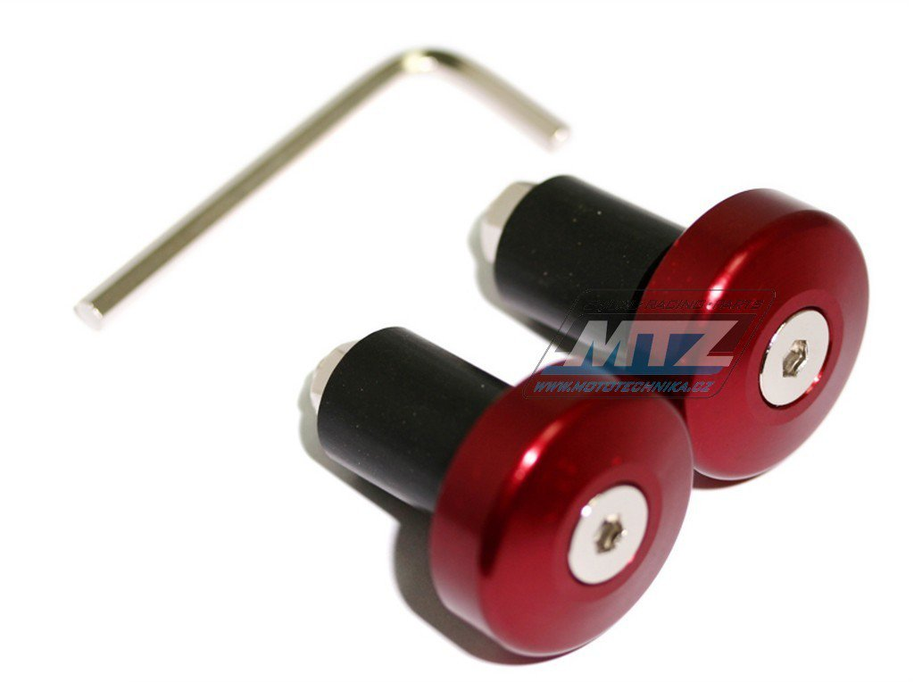 Koncovky/závaží řidítek Alloy - červené (pro vnitřní průměr řidítek ¤17mm)