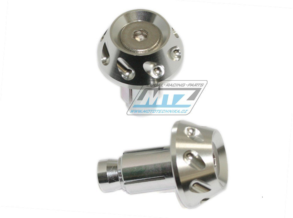 Koncovky/závaží řidítek 2IN1 - stříbrné (pro vnitřní průměr řidítek ¤13/¤17mm)