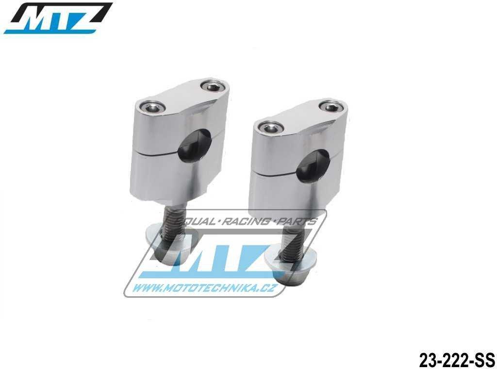 Klemy řidítek - pro řidítka 22,2mm (hlavní šroub - 12mm) - barva stříbrná
