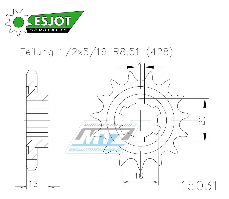 Kolečko řetězové 50-15031-16 ESJOT