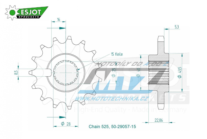 Kolečko řetězové 50-29057-15 ESJOT
