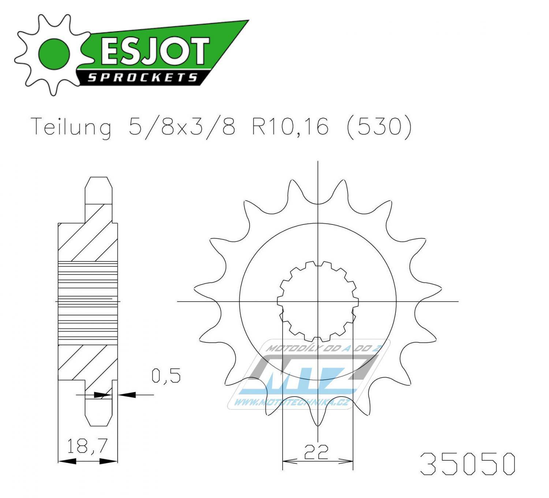 Kolečko řetězové 50-35050-14 ESJOT