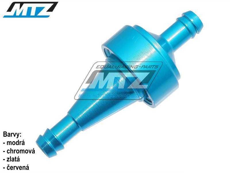 """Filtr palivový/benzínový - průměr 5/16"""" (8mm) - hliníkové tělo - barva modrý"""