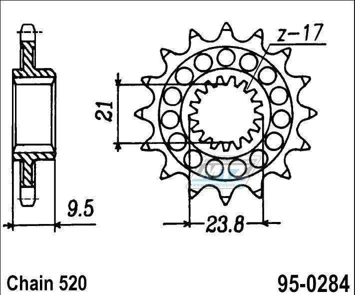 Řetězové kolečko (pastorek) 95-0284-13zubů MTZ - Honda TRX450R/ER + CR250RN,RP + CR250RR + CR250RS + CR250RT + CR250RV,RW,RX,RY,R-1 + CR250R2 + CR250R3 + CR250R4 + CR250R5 + CR250R6,7,8 + CR250 + CRF450R2,R3 + CRF450R4 + CRF450R-F,G,H,J + CRF450R