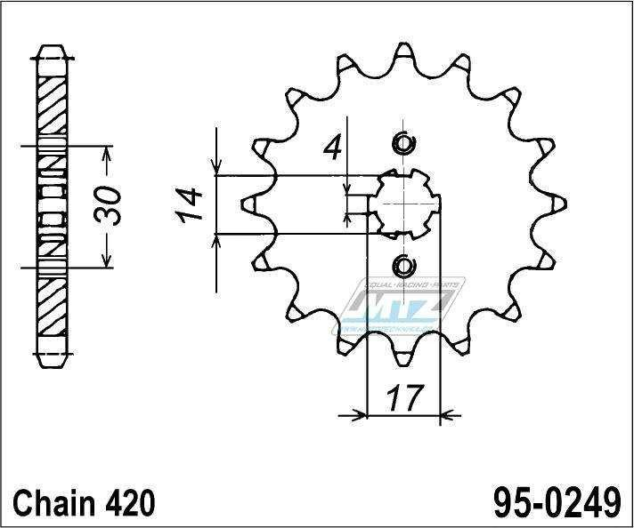 Řetězové kolečko (pastorek) 95-0249-16zubů MTZ - Kawasaki KLX110CAF,CBF,CCF,CDF,CEF,CFF,CGF,CHF,CJF,CKF + KLX110LDAF,DBF,DCF,DDF,DEF,DFF,DGF,DHF,DJF,DKF + Kawasaki AE50 + AR50A1,C2-C10 + Honda ST50J,K,L Dax + 125 Supra-X