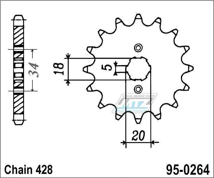 Řetězové kolečko (pastorek) 95-0264-16zubů MTZ - Honda C90 Z2,ZZ,C + CE + CBZ125 + EZ90 Cub + Kymco 125 Pulsar + 125 STR + Gilera 125 Cougar + Honda CB175 K4,K5 + CB175 K3-K7 + XLR250R3H + XLR250 R3J,R3K + XLR250 R3L,R3M,R3N,R3P,R