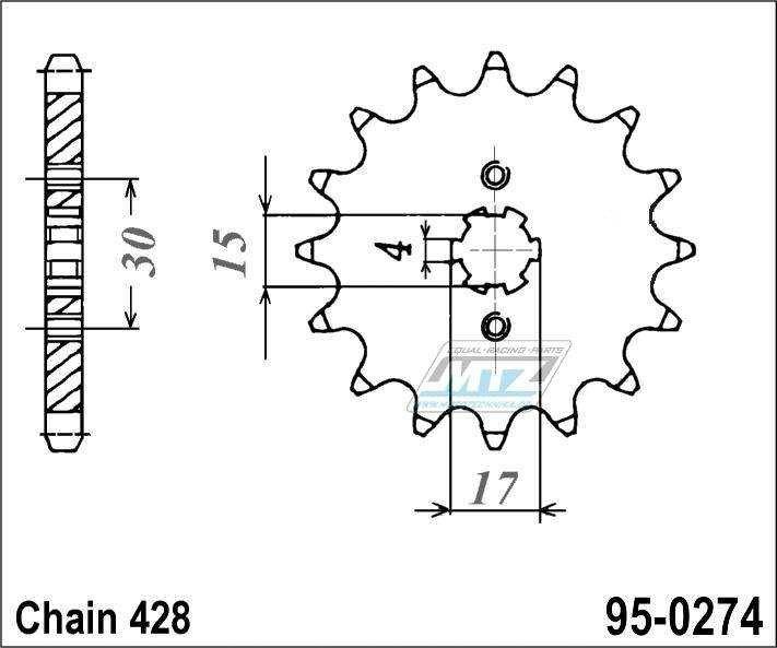 Řetězové kolečko (pastorek) 95-0274-15zubů MTZ - Honda CRF100F-4,5,6,7,8,9,A,B,C,D + XR100 + XR100R-F,G,H,J,K,L,M,N,P,R,S,T,V,W,X,Y,1,2,3 + Honda C100 + 110 + 125 Innova + Kymco 110 Active + 125 Spike + Daytona 125 Sprinter