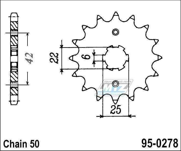 Řetězové kolečko (pastorek) 95-0278-15zubů MTZ - Honda CB250N,NA,T1,T2 + CBX400FF2 + CB500T + CB250K3 + CB250K4 + CB250G5 + CJ250T + CB350K + CB360G5 + CJ360T + CB400N,NA + CB400T,AT + CB400A + CB400T + CM400A + CM400C/E + CM400T + CB450DXK