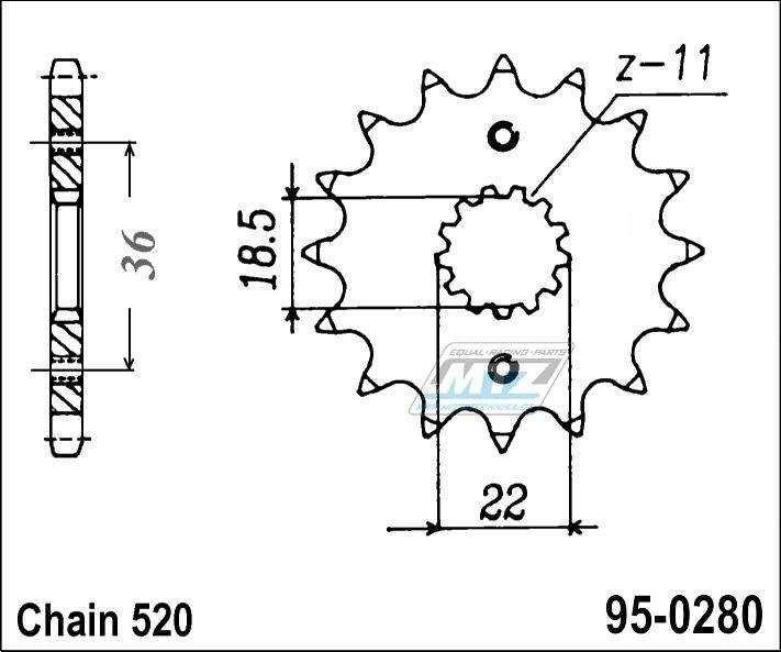 Řetězové kolečko (pastorek) 95-0280-13zubů MTZ - Honda AX1 + XL250S,S + XL250S,S + XL250M,N,P2 Degree