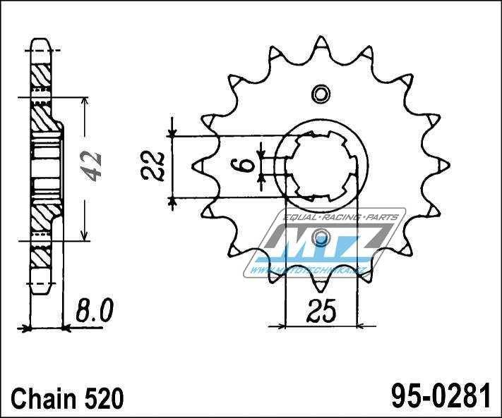 Řetězové kolečko (pastorek) 95-0281-15zubů MTZ - Honda XR250RC,RD + XR500SA,SZ + XR500RB,RC + XR500RD,RE,RF + XR600RF,RG,RH + XR600RJ,RK,RL + Honda CB250RSA + CB250RSD-C,L + CL250SC + XL250RC,RD ProLink + XL400S + XL500SZ,SA,SB + XL500S