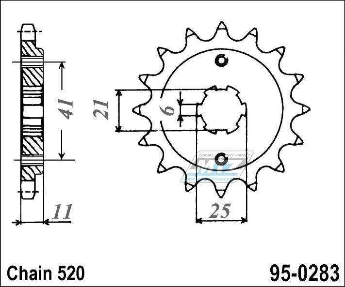 Řetězové kolečko (pastorek) 95-0283-14zubů MTZ - Honda NSR250 + VT250FD,FE,FG,F2D,FJ + VT250FE,ZE,FF-YA,F2F,FJ Integra + VT250F2H,H,H2 + VTR250 Interceptor + NS250FE + NSR250RG + NSR250R2J,R4J + NSR250R5K,K2,R6K,K2 + NSR250R/SE/SP + NSR250RR,R2R