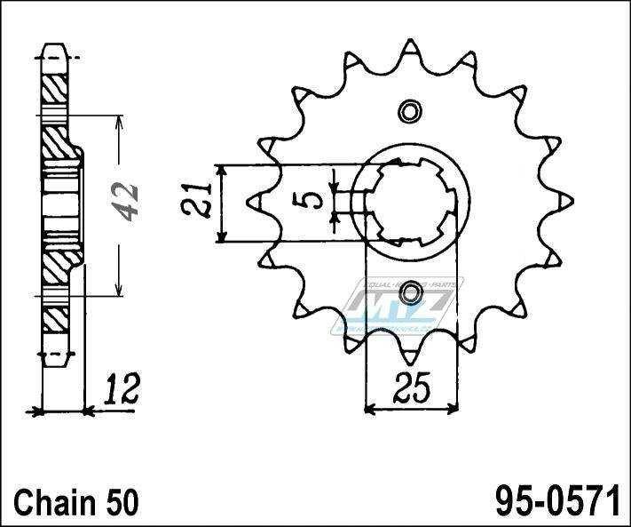 Řetězové kolečko (pastorek) 95-0571-15zubů MTZ - Yamaha XS250RK,SK + XJ400 + XJ400Z,ZS + XS400DOHC + XS400J,K + XS400RJ,K + XJ550 + FJ600 + FZ600 + XJ600 + YX600