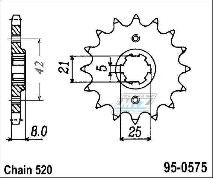 Řetězové kolečko (pastorek) 95-0575-15zubů MTZ - Yamaha TT250/ 89-92 + TT350 / 86-92 + TT600 / 83-92 + TT600E / 96-97 + XT400 / 83-84 + XT550 / 82-83 + SRX600 / 86-94 + TT600E / 96-00 + Yamaha XT600 / 83-89 + FZ400R / 84-87
