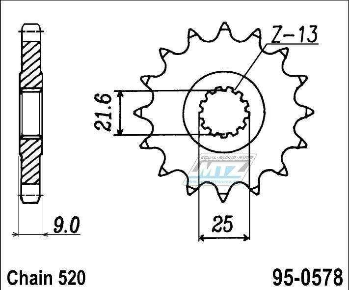 Řetězové kolečko (pastorek) 95-0578-16zubů MTZ - Yamaha FZR400 Genesis / 88 + FZR400RR EXUP / 90-95 + FZR400SP + SR500 / 91-00 + XTZ750 / 90-98