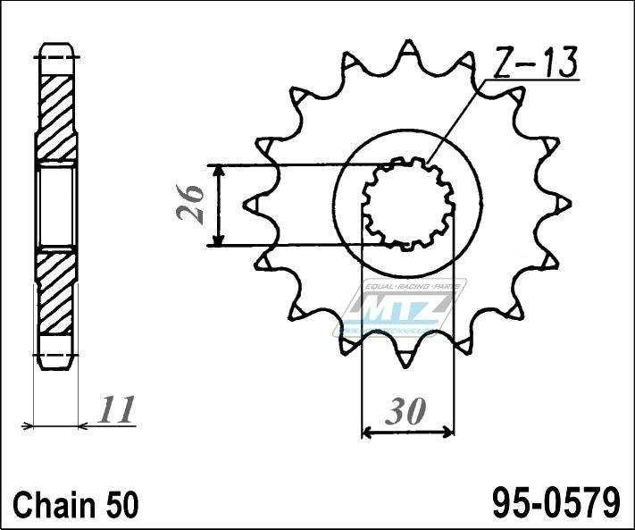 Řetězové kolečko (pastorek) 95-0579-17zubů MTZ - Yamaha RD500LC + RZV500R + RZ500F + FZS1000 + FZ1 + YZFR + FZ1N,NA + FZ1S + FZ1 + FZIE + YZFR1 + FJ1100 + FJ1200 + XJR1200 + XJR1300 + MT01 + XJR1300