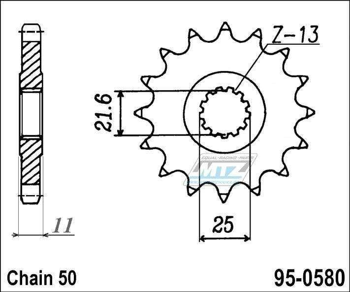 Řetězové kolečko (pastorek) 95-0580-16zubů MTZ - Yamaha FZ6 + YZFR6 + YZFR6S + FZ700T + FZX700S + FZ750 + FZR1000 + FZR750 + FZX750 + YZFR7 + FZR1000 + GTS1000 + YZF1000