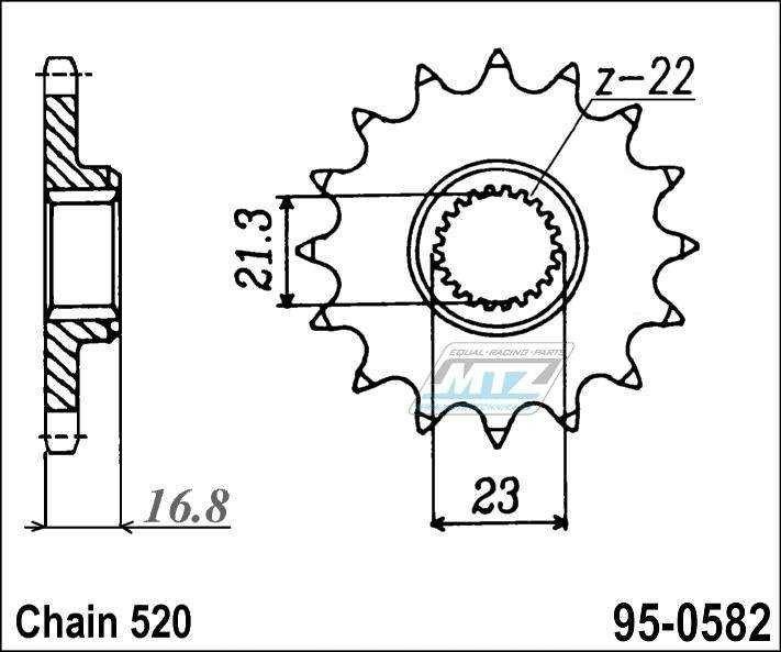 Řetězové kolečko (pastorek) 95-0582-16zubů MTZ - Yamaha XJR400 / 93-08 + XJR400R / 93-07 + XJR400R2 / 96 + XJR400S + XJ600S + XJ600N