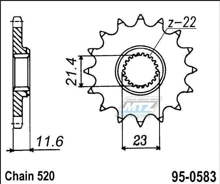 Řetězové kolečko (pastorek) 95-0583-14zubů MTZ - Yamaha TTR250 / 99-06 + TT250R / 93-95 + TT250R / 96-98 + TT250RLW / 99-00 + TT250R / 03-04