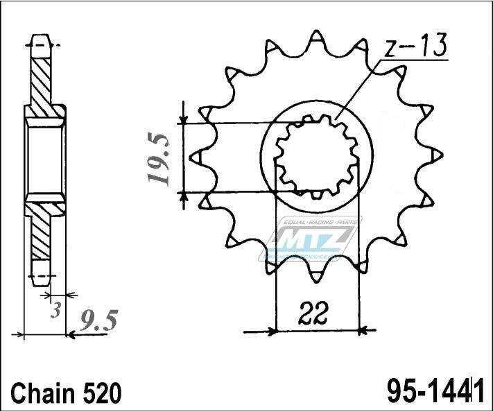 Predné oceľové ozubené koliesko MTZ Suzuki RMZ 450, RMX 450Z 14 zubové