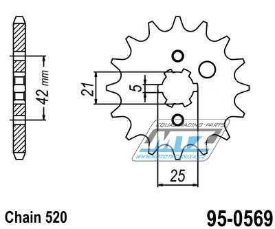 Řetězové kolečko (pastorek) 95-0569-15zubů MTZ - Yamaha TY250S + TY300S + TY250R + TY300R + TYZ250 + TY350S + TY350N + Kawasaki KXF250 + KDX200 + KDX220 + KX250 + Yamaha YTZ250 + YFM350 + YZ250K + Kawasaki KDX200 + KDX250 + KX250 + Yamaha WR250 + YZ2