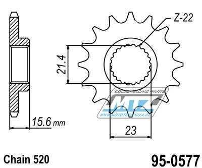 Řetězové kolečko (pastorek) 95-0577-15zubů MTZ - Yamaha SRX400 + MuZ 600 + 660 + Yamaha TT600R + XT600D,E + XT600H + XT600K + XT600E + XT600Z + XT600E + SZR660 + XTZ660