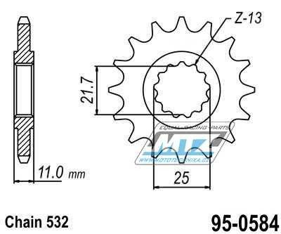 Řetězové kolečko (pastorek) 95-0584-16zubů ESJOT - Yamaha YZFR6 / 99-05 + YZFR6S / 06-10 + YZF750R / 93-97 + YZF750SP / 93-97 + FZR1000 / 87-88 + FZR750R / 89 + FZR1000 / 89-95 + YZF1000R / 96-02