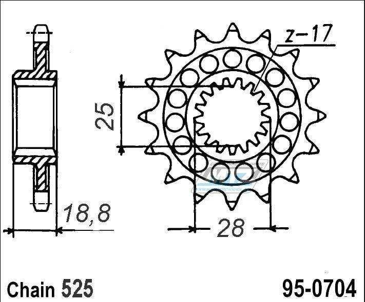Řetězové kolečko ESJOT - 0704-17zubů