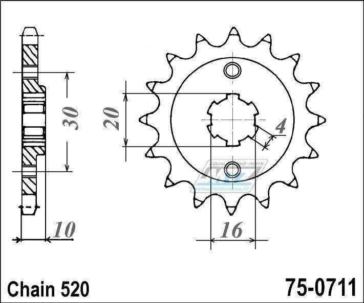 Řetězové kolečko ESJOT - 0711-14zubů