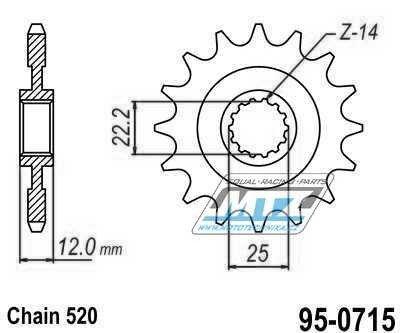 Řetězové kolečko ESJOT - 0715-12zubů