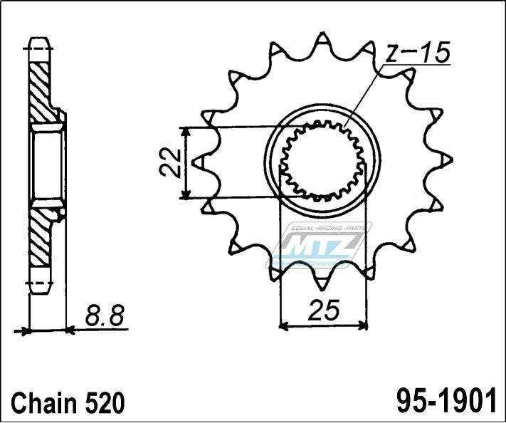 Predné ozubené koliesko ESJOT KTM, Beta, Husaberg, Husqvarna, Polaris ATV, KTM ATV 13Z
