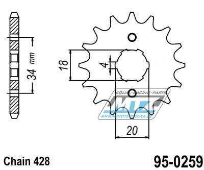 Řetězové kolečko (pastorek) 95-0259-15zubů MTZ - Daelim VC125 + 100 Altino + VC125S + VJ125 + VJF125R + VL125 + VL125FI + VS125 + VT125 + Honda EZ90 + CB100 + SL100 + XL100 + CB125S + CG125 + CT125 + XL125S + XL185S + CT200 + Derbi 125