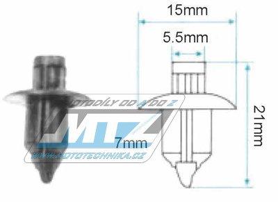 Klip/Nýt kapoty 15x5,5x7x21mm