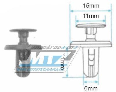 Klip/Nýt kapoty 15x11x11x6mm