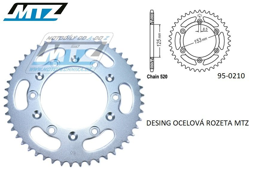 Rozeta ocelová (převodník) 0210-45zubů MTZ - Honda CR125+CR250+CR500 + CRF250R+CRF250X+CRF450R+CRF450X+CRF450RX+CRF450L + CRM250+CRF150F + CRF230F / 03-19 + XR250S+XL250S+XL250 + XR250R+XR400R / 96-04 + XR650R / 00-07