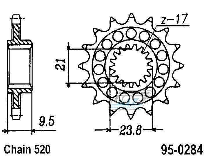 Řetězové kolečko (pastorek) 95-0284-12zubů ESJOT - Honda TRX450R/ER + CR250RN,RP + CR250RR + CR250RS + CR250RT + CR250RV,RW,RX,RY,R-1 + CR250R2 + CR250R3 + CR250R4 + CR250R5 + CR250R6,7,8 + CR250 + CRF450R2,R3 + CRF450R4 + CRF450R-F,G,H,J + CRF45