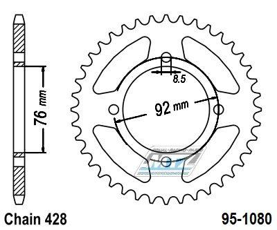 Rozeta ocelová (převodník) 95-1080-37zubů MTZ - pitbike Stomp + pitbike DemonX  + pitbike WPB + Thumpstar Pit Bikes + X-Sport Pit Bikes