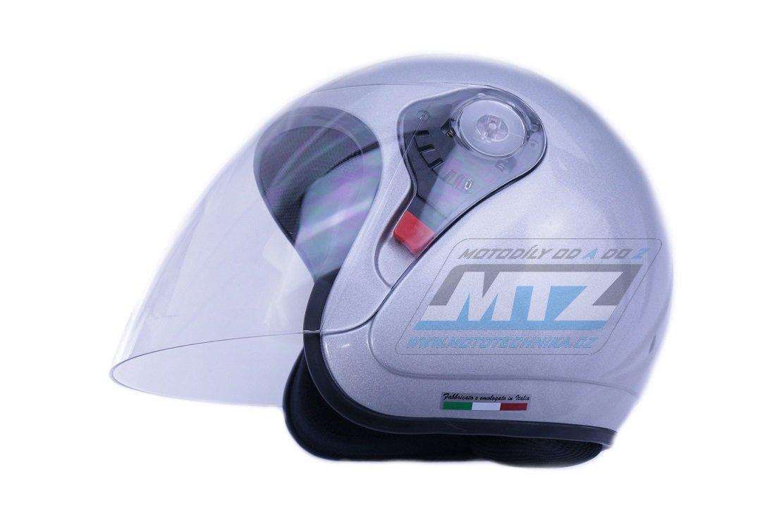 Přilba na skútr Rial Helmet Key-West - stříbrná - velikost M