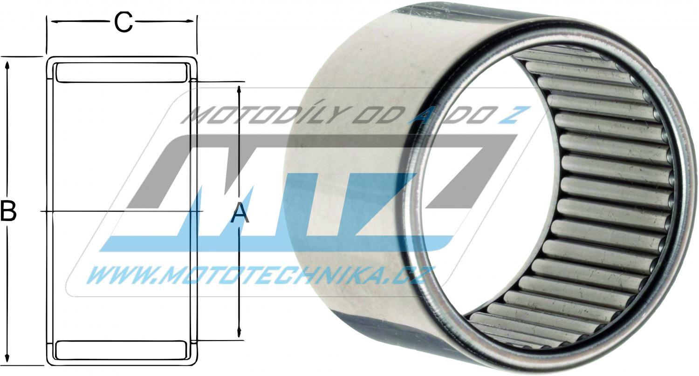 Ložisko jehlové celojehlové - rozměry: 14x20x12mm