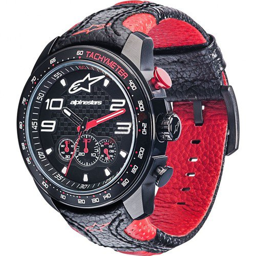 Hodinky Alpinestars Tech Watch Chrono Black-Red Leather Strap