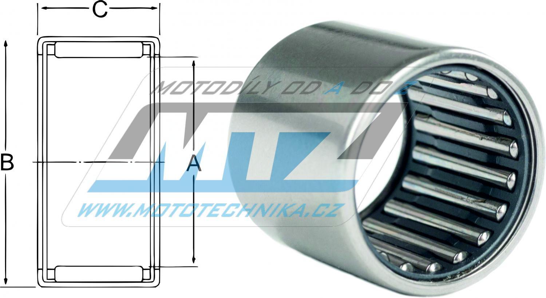 Ložisko jehlové s klecí - rozměry: 17x24x15mm