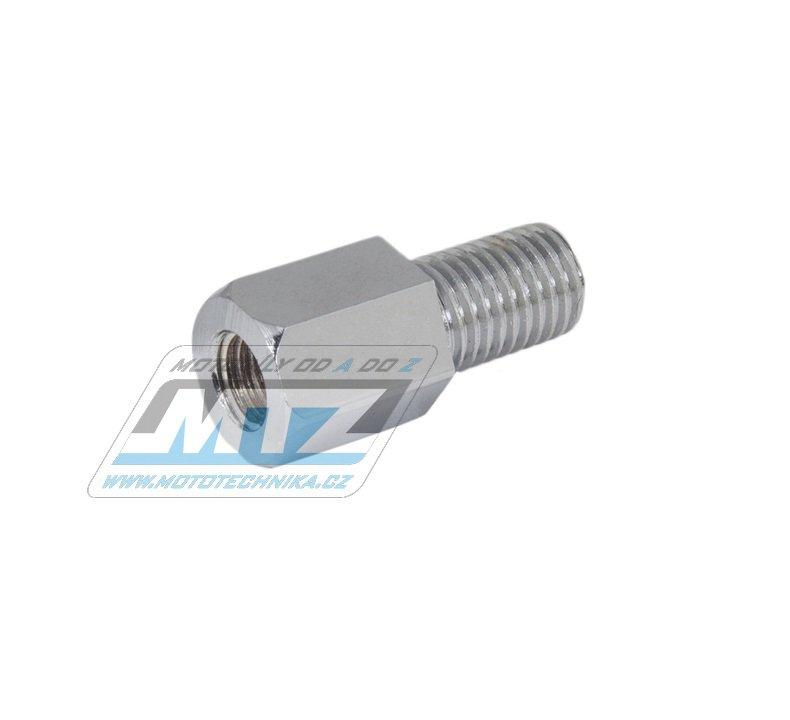 Adaptér zrcátka 10mm Pravý závit vnější / 10mm Levý závit vnitřní (barva stříbrná/chrom)
