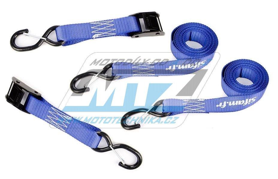 Popruhy/Kurty upínací 32mm s háky s pojistkou - modré