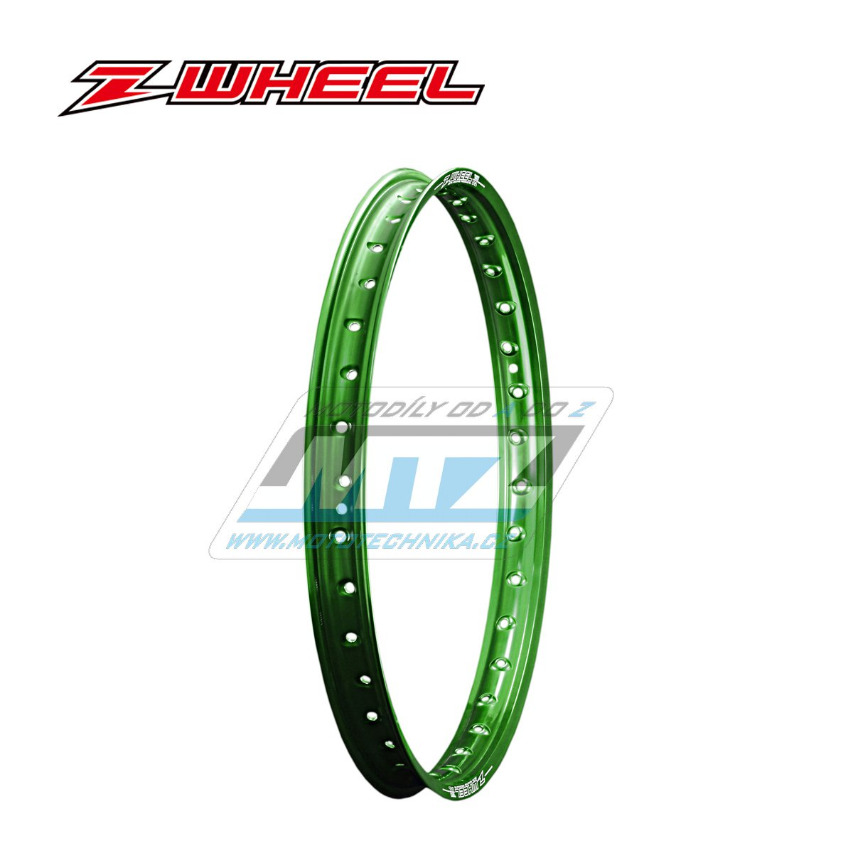 """Ráfek přední Zeta Z-WHEEL - rozměr 1,60x21"""" - 36H (předvrtaný 36otvorů) - zelený"""